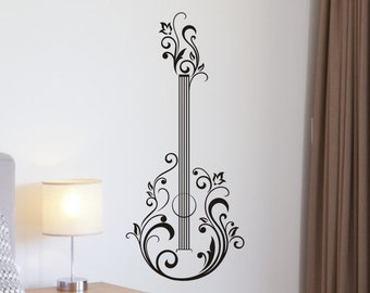 Guitar Wall Decal Floral Abstract Flowers Baby Girl Boy Sticker Nursery Bedroom Bed Room Man Cave Mancave Removable Decoration Vinyl Decor