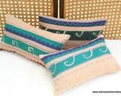 Tan Primitive Tribal Appliquéd Akha Symbols Rectangular Lumbar Pillow Cushion Cover