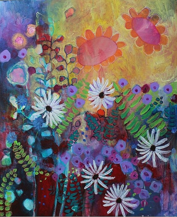 """Acrylic Painting Abstract Floral Contemporary """"Garden Jubilee"""""""