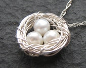Nest Pendant - Ivory Pearl Necklace, Wire Wrapped Necklace, Sterling Silver, Silver Jewelry