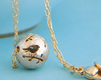 Tiny Gold Bird Silhouette Bead Charm Necklace