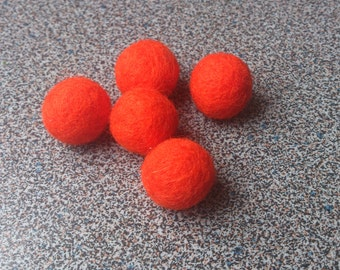Orange beads set of 5 needle felted hand made neon orange for craft projects or jewelry