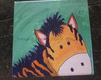 Peek-a-Boo Animal Canvas Painting - zebra