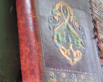 20s Leather Tooled and Painted Book Cover with an Edition of Essays Toward Truth