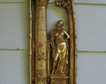 Vintage Greek Style Wall Hanging - Woman with Spray of Wheat.