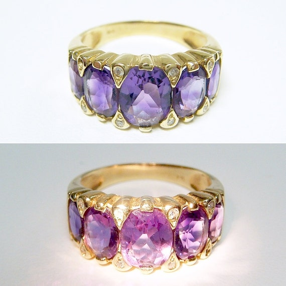 14k Color Change Amethyst & Diamond Georgian Ring