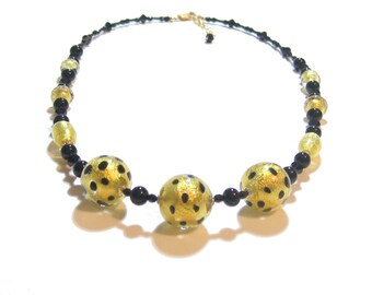 Genuine Murano Glass Leopard Necklace, Venetian jewelry, Gold Black Bead Necklace, Chunky Glass Necklace, Gold Filled Necklace, For Her
