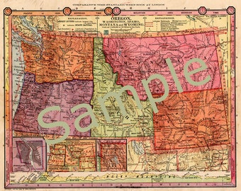 Printable Antique Map of Oregon, Washington Map, Idaho Map, Montana Map, Wyoming Map, Instant Download, 1880s Color Map, Cartography