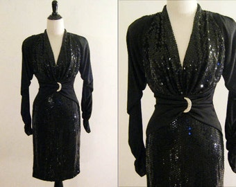 1980's Black Sequined Party Dress by Climax for David Howard