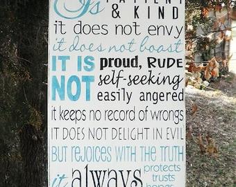 Love is Patient love is kind. ,1 corinthians 13:4-7 ,  Love family sign, family sign, family rules sign, love rules sign