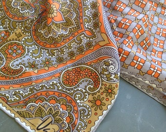 1960s Vintage VERA Neumann Floral Scarf with Grey, Orange and Green Colours