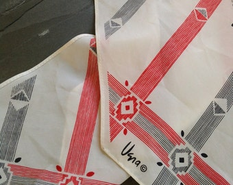 Vintage VERA NEUMANN Scarf with Black,White and Red Colours