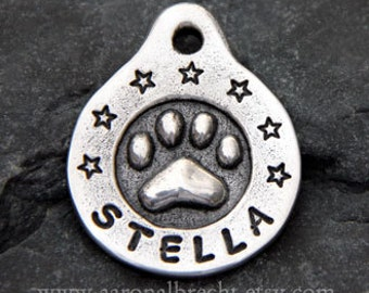 Personalized Pet ID Tag - Dog Tag - Dog Tags for Dogs - Pets Accessories - Custom Paw Print