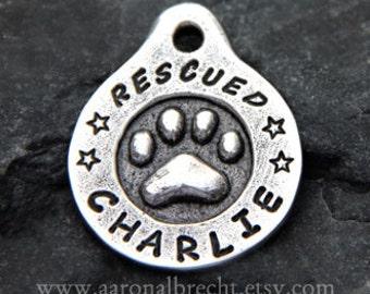 Personalized Pet Tag Dog Tag Dog ID Tags Puppy Name Tag Handmade Custom Metal Paw Print