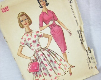 Vintage 1961 Dress Sewing Pattern, McCalls 5812