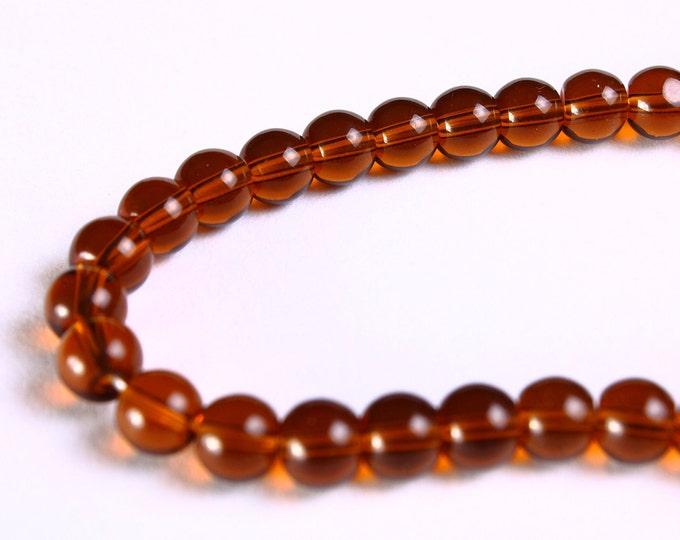 6mm topaz brown round glass bead - 50 pieces (1070) - Flat rate shipping