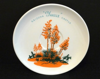 Blakely Oil Cactus Plate Vintage Arizona Cactus 6 Inch plate Orange Yucca bread plate USA Travel memorabilia 1950s Gift with Purchase