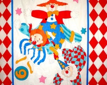 Clowns, Red Clown Fabric, Baby Panel, Baby Fabric, Baby Panel Fabric, 1 panel, 01074