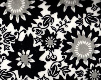 Black and White Minky, Floral Minky, Grey Minky, Soft Fabric, 1 Yard Fabric, 01266