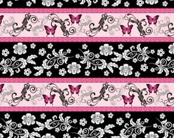 Floral Fabric, Pink Floral Fabric, Butterfly Fabric, Hot Pink Fabric,  Aprils Garden by South Seas, 1/2 yard fabric