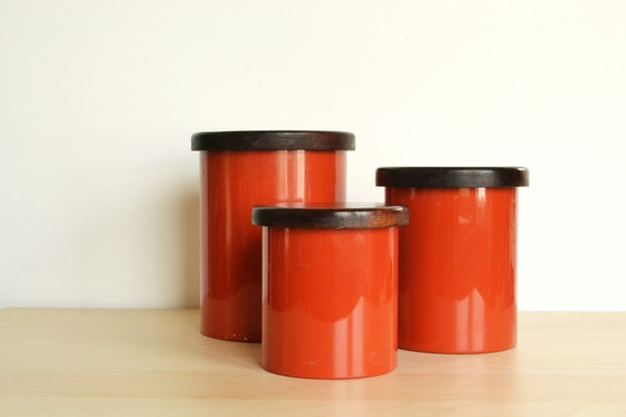 orange storage jars kitchen mod kitchen copco burnt orange canisters set of 3 3766