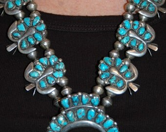 Stunning Old Pawn Zuni Sterling Natural Morenci Turquoise Squash Blossom Necklace w Earrings 175 Grams