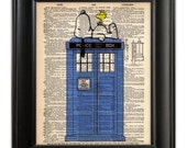ORIGINAL Snoopy TARDIS Doctor Who Art Print Blue British Police Box Booth Dictionary Illustration on Upcycled Antique English Book Page 8x10