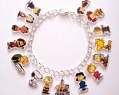 Peanuts Gang Charm Bracelet,  Snoopy, Lucy, Charlie Brown, Woodstock, Pig Pen