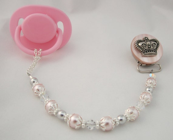 Pink Crown Pacifier clip with Pink Swarovsky Pearls and Crystals (CCP)  Dummy Clip, Binky Clip
