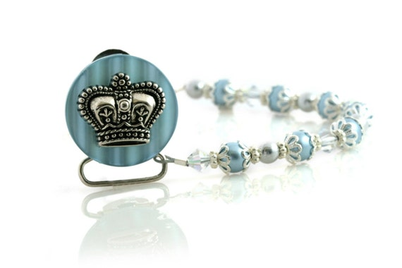 Blue Crown Pacifier clip with blue Swarovsky Pearls & crystals (CCB) BABY GIFT