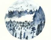 Blue Forest Art Print, 8x11, Watercolor Painting, Quote Art, Misty Landscape, Landscape Painting, Nature Painting