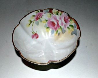 Nippon china fluted footed bowl with roses  scallop trim vintage porcelain