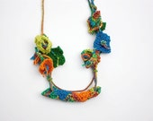 Colorful knitted necklace, fiber floral jewelry, blue orange green, OOAK