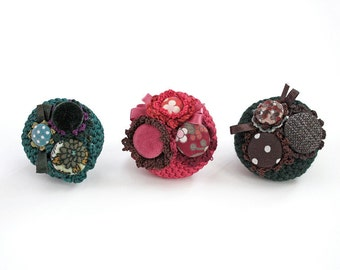Crochet cluster circle pin brooch with fabric buttons, OOAK