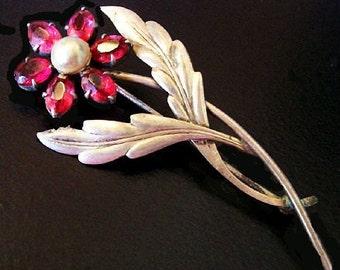 "Art Deco Rhinestone Pearl Brooch Pin Signed RWC Sterling Silver Pink Flower 2 3/4"" 10 Gms Vintage"