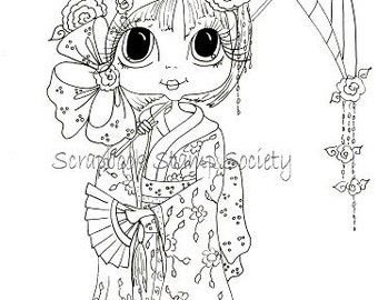 INSTANT DOWNLOAD Digital Digi Stamps Big Eye Big Head Dolls Digi Rose Blossom By Sherri Baldy