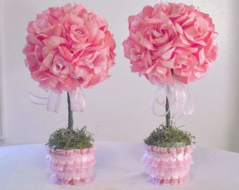 2 Pink Rose Topiaries, Wedding Flowers, Baby Shower Flowers,  Party Centerpieces