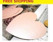 "Heart Paper Tags 100 Pcs, Big Heart Paper Tags, about 3"" X 3"" , Heart Tags, Wedding favor Tags, Wedding Tags, Color: Pastel Pink"