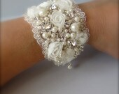 Wedding Cuff Bracelet ~ Vintage Wide Cuff  Bracelet, Vintage upcycled wedding material and beads, Soft Ivory lace and pearls