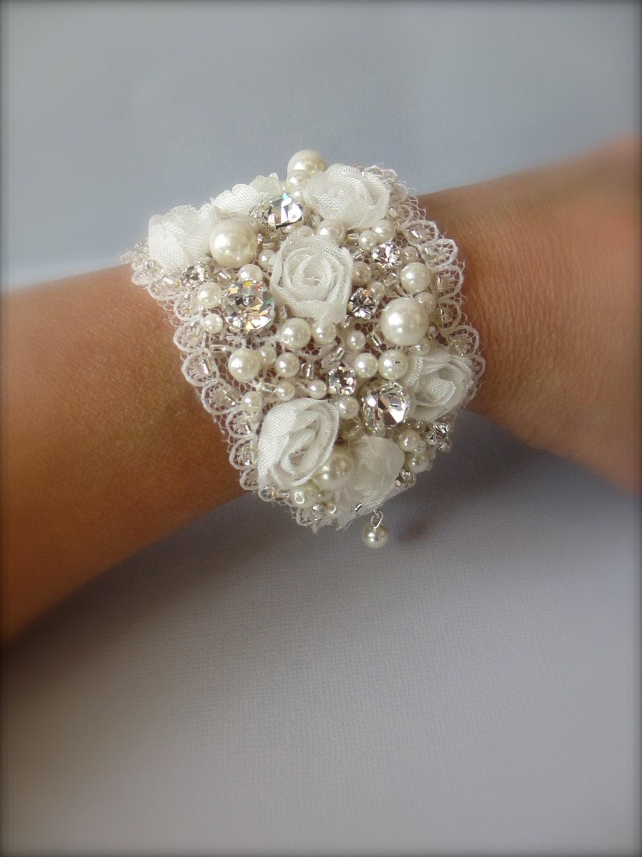 Wedding Cuff Bracelet Vintage Wide Cuff By UniqueJewelryLLC
