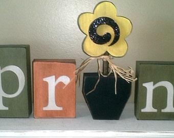 Primitive Spring wood blocks letters spring decor Easter decorations flower