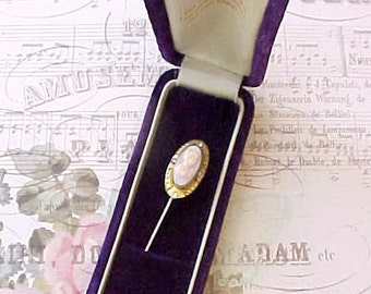 Charming and Dainty Edwardian Era Stickpin with Celluloid Cameo and Paste Stones