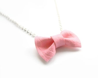 pastel light PINK BOW NECKLACE