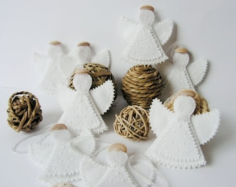 Set of 4 Felt Angel decoration Christmas Angel ornament White Christmas decoration Rustic Natural decoration Gift idea MADE TO ORDER