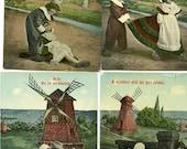 Vintage Lot of 4 Mint Postcards featuring Dutch Children