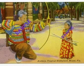 Digital Download-Tropical Hobbyland-Archery-Vintage Linen Postcard