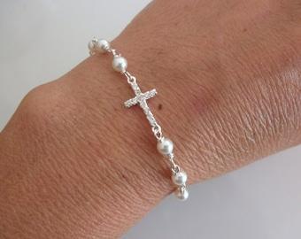 CZ sideways cross bracelet with Swarovski pearls