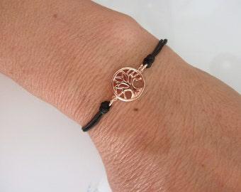 rose gold tree of life cord bracelet - rose gold vermeil charm - friendship bracelet - charm bracelet - rose gold charm -