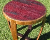 Wine Barrel End Table (Round, Red, Burgundy, Purple)