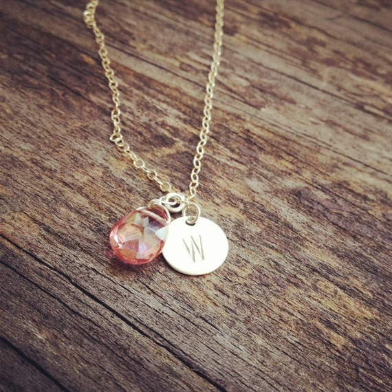 Pink Birthstone Initial Necklace - October Birthstone Necklace - All Sterling Silver - Everyday Wear